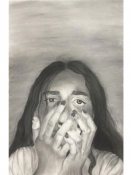Charcoal-drawing-worried-girl-student-project-e5-portfolio